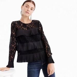 NWT J. Crew Black Pleated Lace Ruffle Blouse 4P